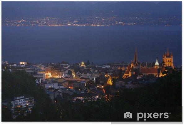 Plakat Lausanne, Genewa Jezioro, Szwajcaria - Europa