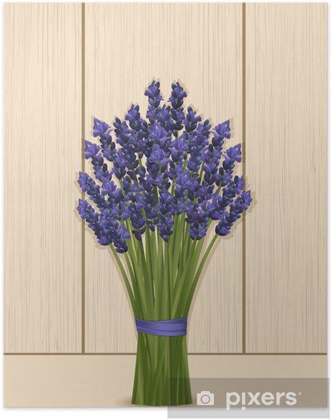 Plakat Lawenda grono na drewnianym tle - Kwiaty