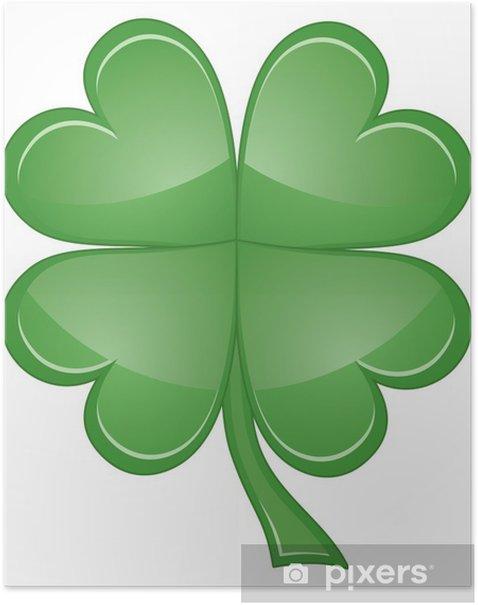 Plakat Leaf Clover Shamrock lub Four - Inne przedmioty