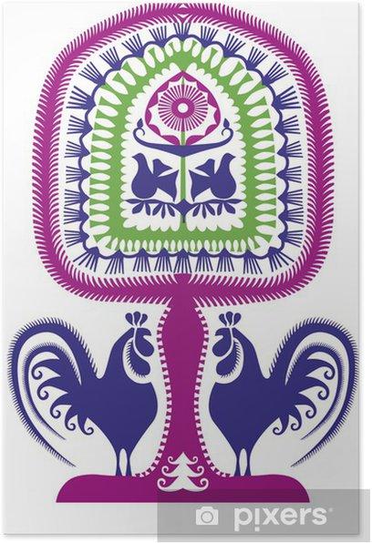 Plakat Leluja kurpiowska wycinanka - Tekstury