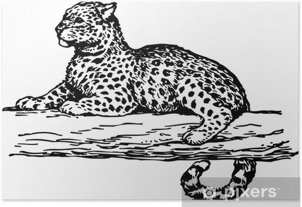 Plakát Leopard na větvi stromu - Savci