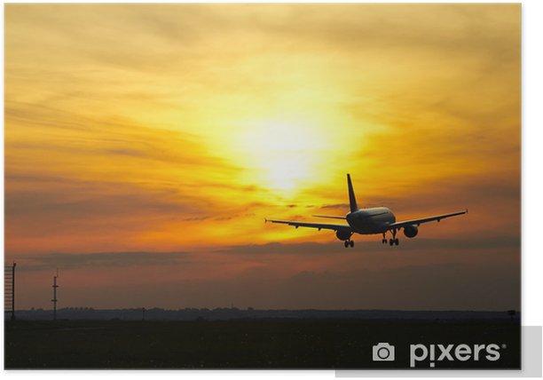 Plakát Letadlo při západu slunce - Vzduch