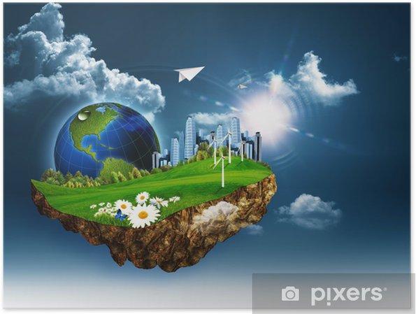 Plakát Létající ostrov. Abstract eco a koncepce na životní prostředí - Ekologie