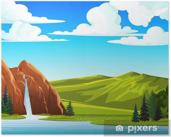 Plakat Letni krajobraz z wodospadem i wzgórza - Pory roku