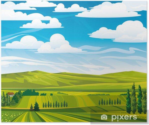 Plakat Letni krajobraz z zielonych łąk - Pory roku