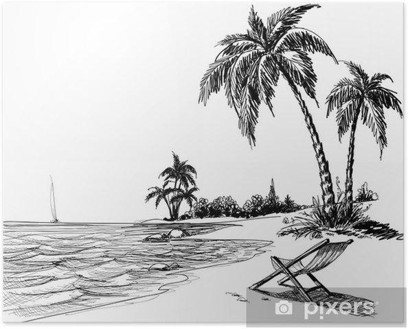 Plakat Letni Plaz Kresba Tuzkou Pixers Zijeme Pro Zmenu
