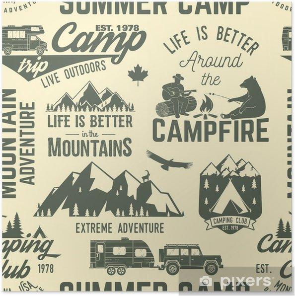 Plakát Letní tábor bezproblémové vzorek nebo pozadí. - Sport