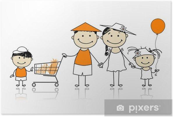 Plakat Letnich wakacji. Szczęśliwa rodzina z koszyka - Moda