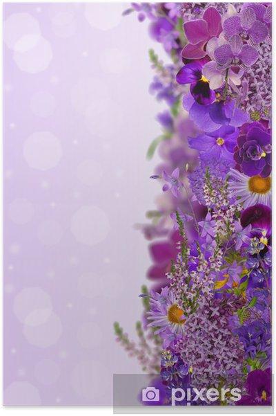 Plakát Lila barvy pás z květů - Květiny