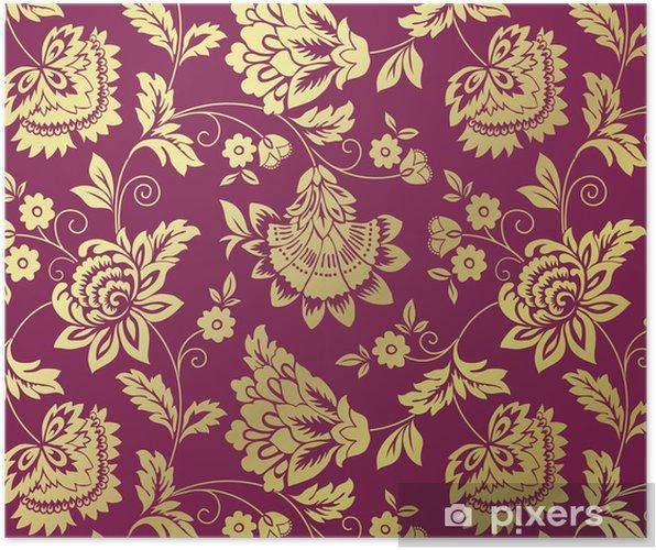 Plakat Lilie wodne, kwiatowy wzór, wzór tkaniny, Royal India - Tła
