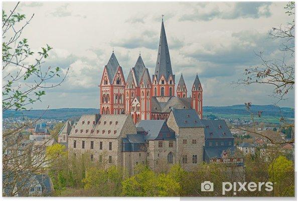 Plakát Limburg hrad s katedrálou na staré město a Lahn - Evropa