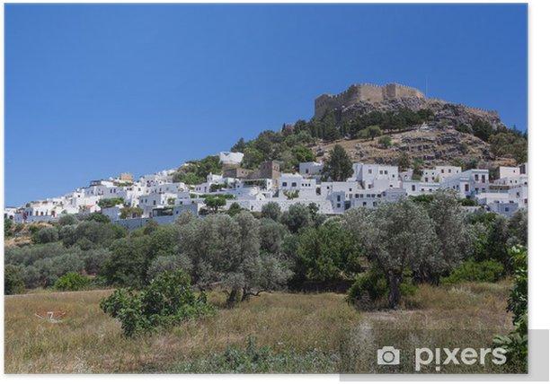 Plakat Lindos miasta w Rodos, Grecja - Europa