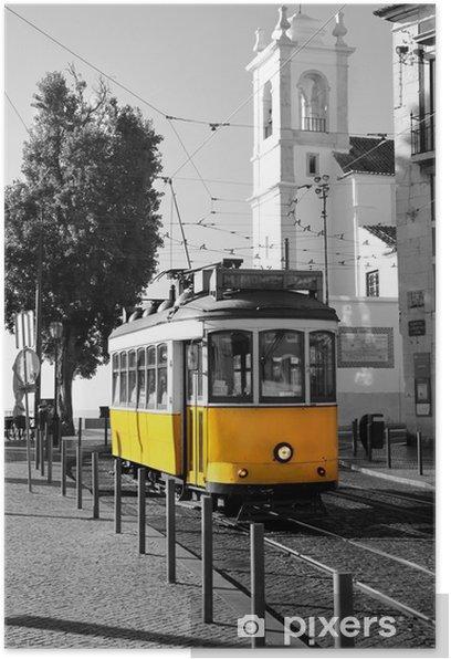 Plakat Lisbon Old żółty tramwaj na czarnym i białym tle -