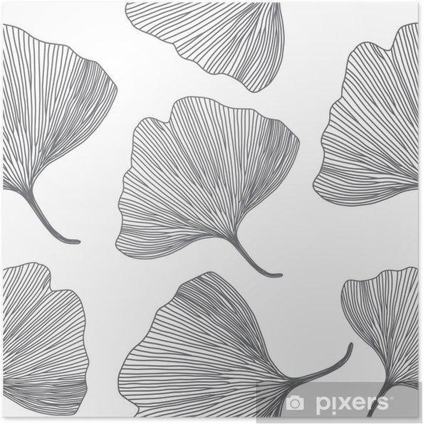 Plakat Liści miłorzębu japońskiego, projektowanie linii, bez szwu wzór - Tła