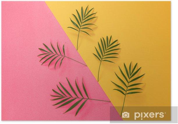 Plakat Liści palmowych na żywe różowe i żółte tło - Rośliny i kwiaty