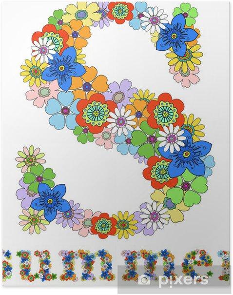 Plakat Litera S i słowo lato kwiatów, wektor. - Znaki i symbole