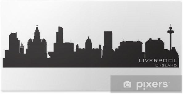 c0e43c80d Plakat Liverpool, Anglia, skyline. Szczegółowa sylwetka wektor - Europa