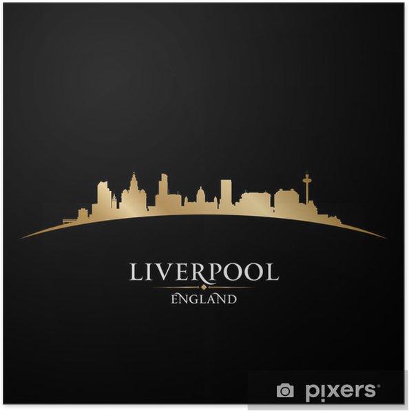 337aabdb3 Plakat Liverpool England city skyline, sylwetka, czarne tło • Pixers ...