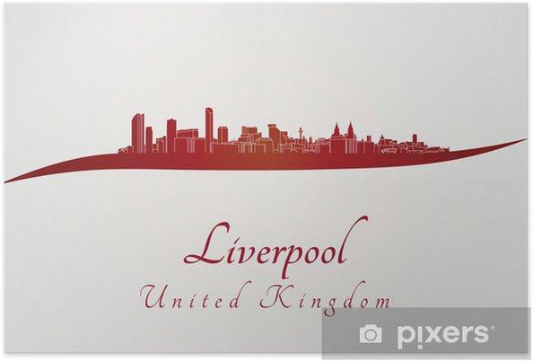 3f9f0f317 Plakat Liverpool skyline w czerwonym • Pixers® - Żyjemy by zmieniać