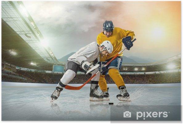 Plakat Lód hokeista na lodzie. otwarty stadion - zima Klasyczna gra - Mężczyźni