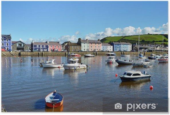 Plakát Lodě kotvící v přístavu Aberaeron, Wales. - Evropa