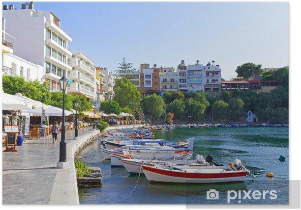 Plakat Łodzie w mieście Agios Nikolaos na Krecie, Grecja - Europa