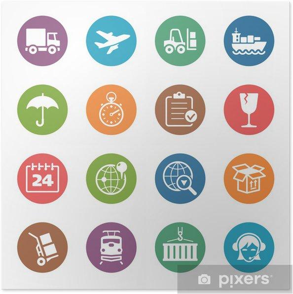 Plakát Logistika ikony - Dot Series - Těžký průmysl