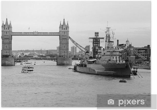 Plakát Londo - Tower bridge a křižník Belfast - Témata