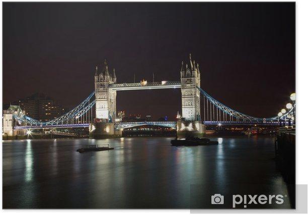 Plakat London Tower Bridge w nocy - Tematy
