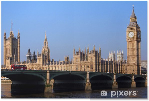 Plakat Londyn, Budynek Parlamentu i Westminster Bridge, - Tematy