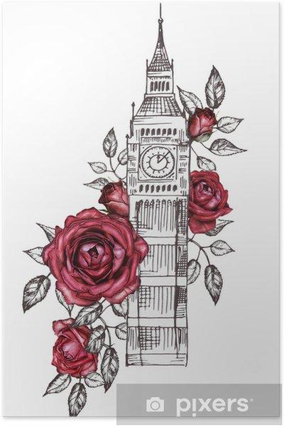 Plakat Londyn Projekt Plakatu Z Różą Graficzny Big Ben Kwiat Akwarela Kwiatowy Streszczenie Tło Drukowanie Podróży Ręcznie Malowane Ilustracji