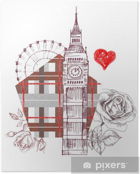 Plakat Londyn Projekt Plakatu Z Różą Graficzny Big Ben Serce Z Grunge Tekstur Abstrakcyjne Tło Angielski Wzór Drukowanie Podróży Ręcznie