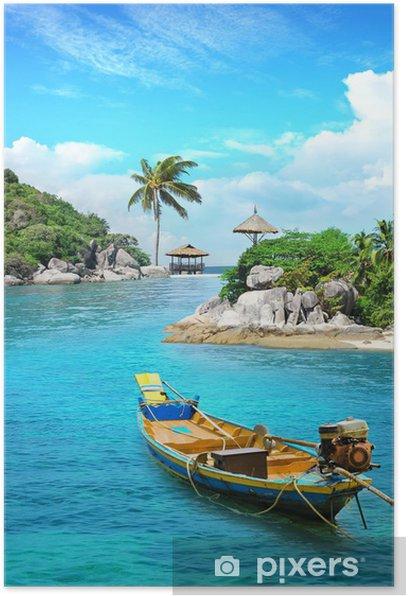 Plakat Longtail łodzi w raju - Wakacje