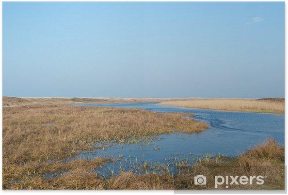 Plakat Loodsmansduin na holenderskiej wyspie Texel - Woda