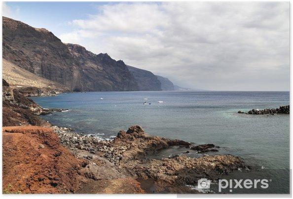 Plakat Los Gigantes oglądany z Punta Teno w Teneryfa, Wyspy Kanaryjskie - Woda