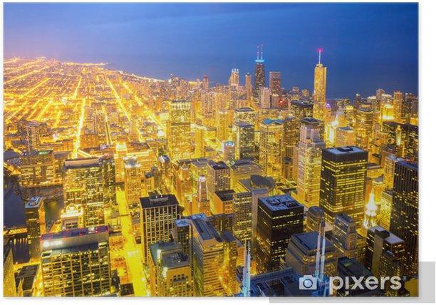 Plakat Lotnicze Chicago City zmierzchu - Tematy