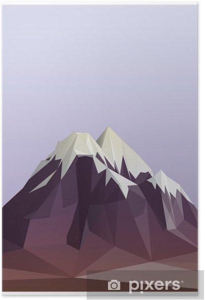 Plakat Low-poly góra styl ilustracji - Sporty zimowe