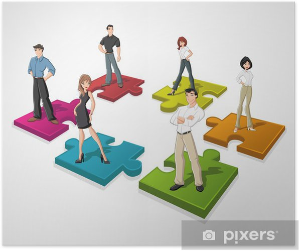 Plakat Ludzi biznesu Cartoon ponad puzzli - Koncepcje biznesowe