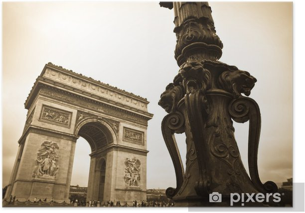 Plakat Łuk Triumfalny w Paryżu - Miasta europejskie