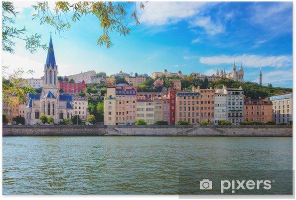 Plakat Lyon Pejzaż z Saone rzeki z kolorowych domów i rzeki - Tematy