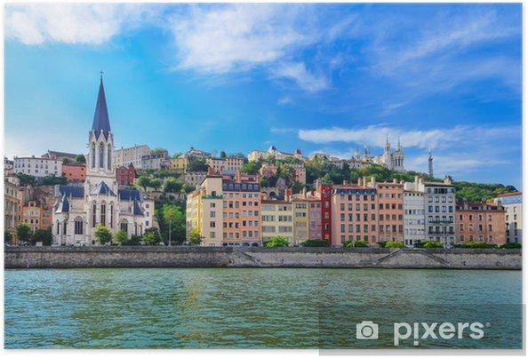 Plakat Lyon Pejzaż z Saone rzeki z kolorowych domów - Tematy