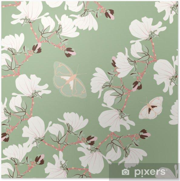 Plakat Magnolias Kwiatowy Wzór Orientalne Motywy Kwitnące Botaniczne Rozproszone Losowo Bezszwowa Wektorowa Tekstura Drukowanie W Stylu Wyciągnąć