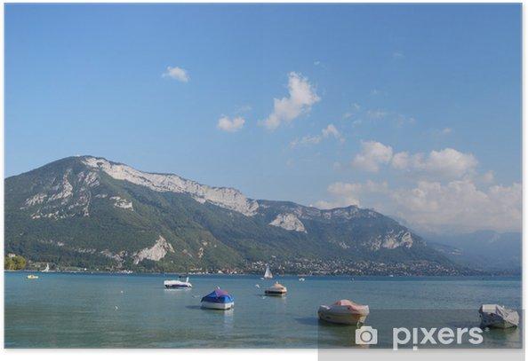 Plakat Mając na najwyższy stopień przejrzystości w Europie jeziora Annecy Jezioro 9 - Wakacje