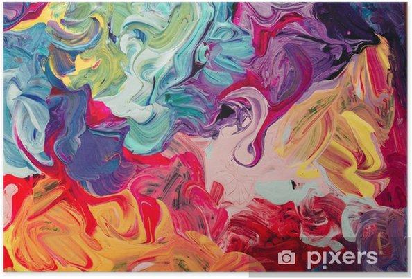 Plakat Makro bliska różnych kolorów farby olejnej. kolorowy akryl. koncepcja nowoczesnej sztuki. - Hobby i rozrywka