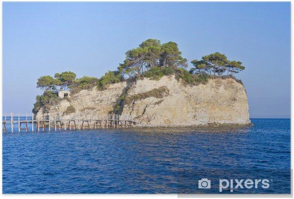 Plakat Mała wysepka Agios Sostis połączone z mostu do Zakynthos - Wyspy