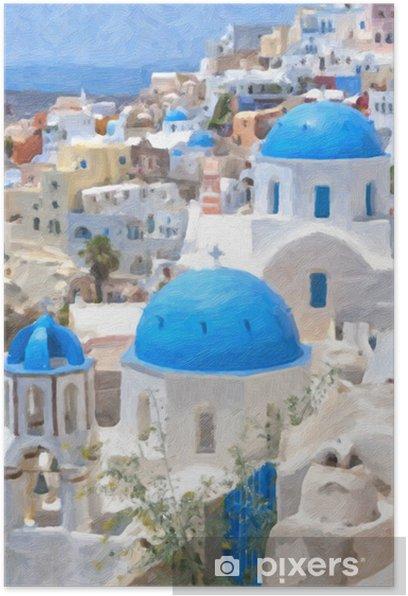Plakat Malarstwo Olej Santorini - Europa
