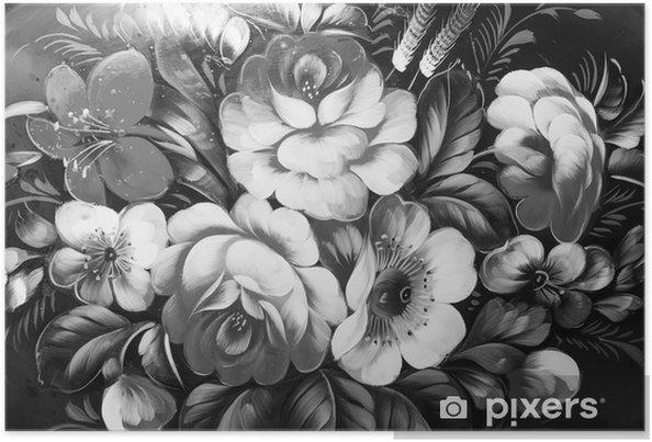 Plakat Malarstwo olejne, styl impresjonistyczny, malowanie faktur, kwiat martwa natura obraz malowany kolorem, - Zasoby graficzne