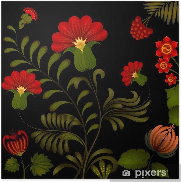 Plakat Malarstwo Petrikov. Tradycyjny obywatel Ukrainy kwiatowy dekoracyj - Rośliny