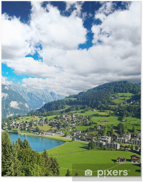Plakát Malé švýcarské vesnice poblíž hory Titlis - Evropa