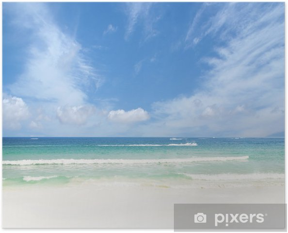Plakát Malebná krajina z tropické pláži. Letní pozadí. - Pozadí